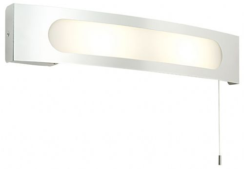 Polished stainless steel & frosted + white screen printed glass IP20 Bathroom Wall Light 39148